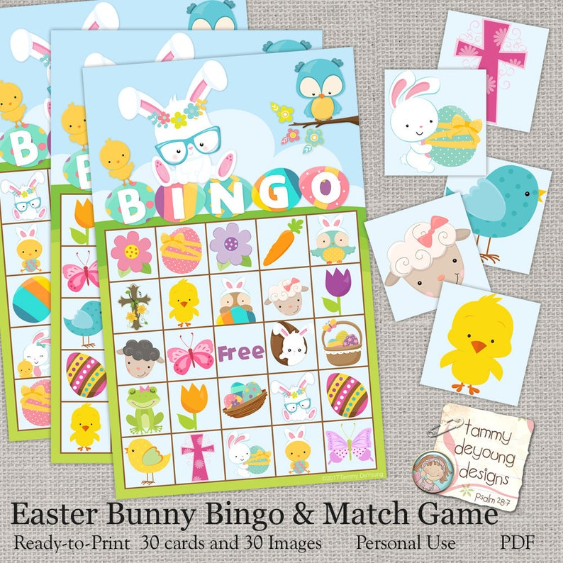 Easter Bunny Bingo Easter Printable Game Instant Download image 0