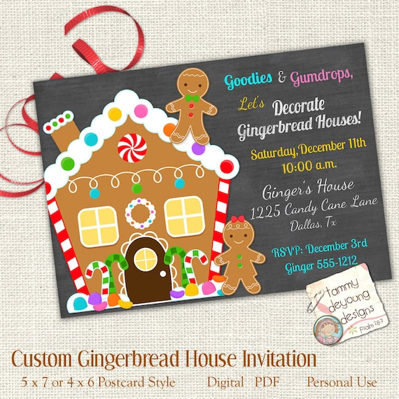 Christmas Gingerbread House Decorations.Christmas Gingerbread House Decorating Party Invitation Custom Cookie E Vite Digital You Print Holiday Cookie Party Kids Christmas Invite
