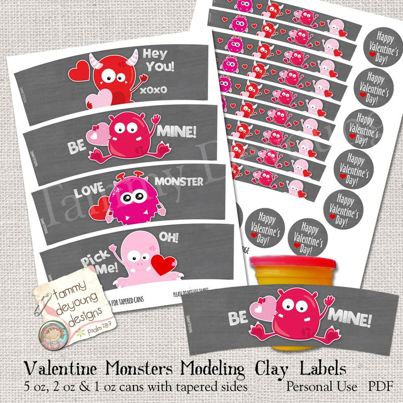 Monster Valentine Party Favors that fit Play Doh® cans image 0