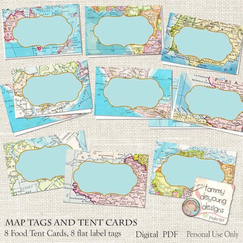 Map Place Cards World Map tags tent labels Digital Buffet | Etsy