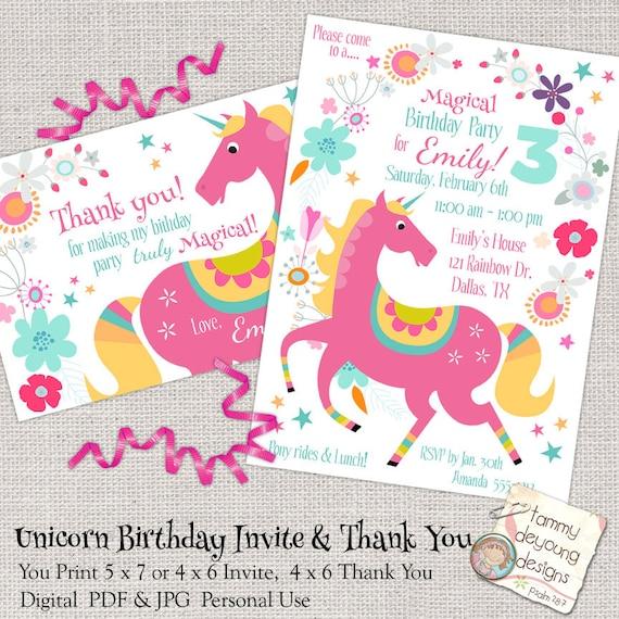 Unicorn Birthday Party Invitation Girls Evite