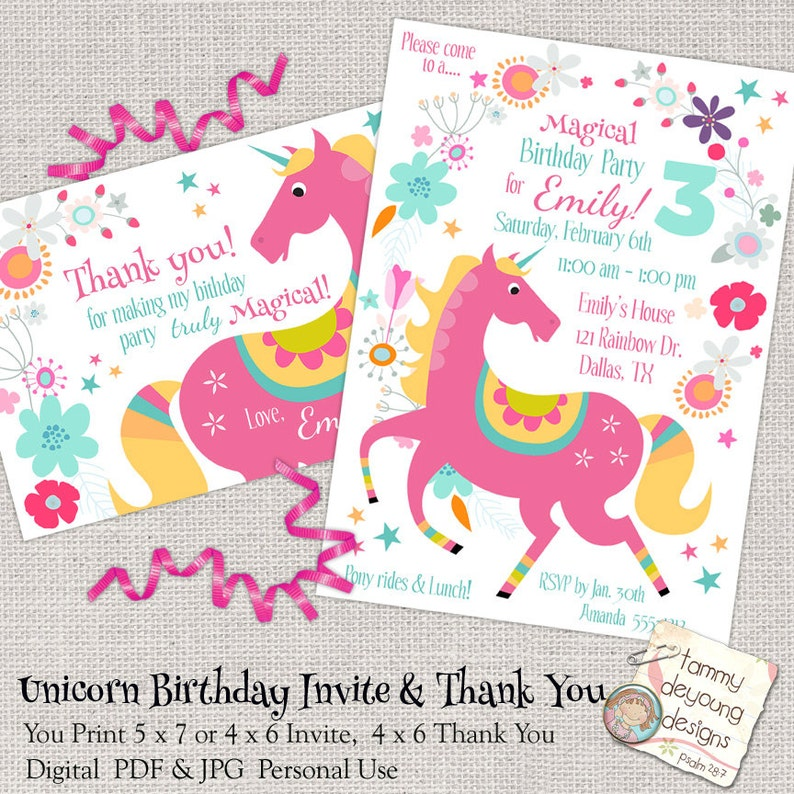 Unicorn Birthday Party Invitation Girls Evite