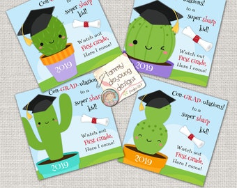 Digital Kindergarten Graduation Tags, Kids Graduation Labels, Cactus Graduation Cards, Treat Bag Tags, Funny Graduation stickers You Print