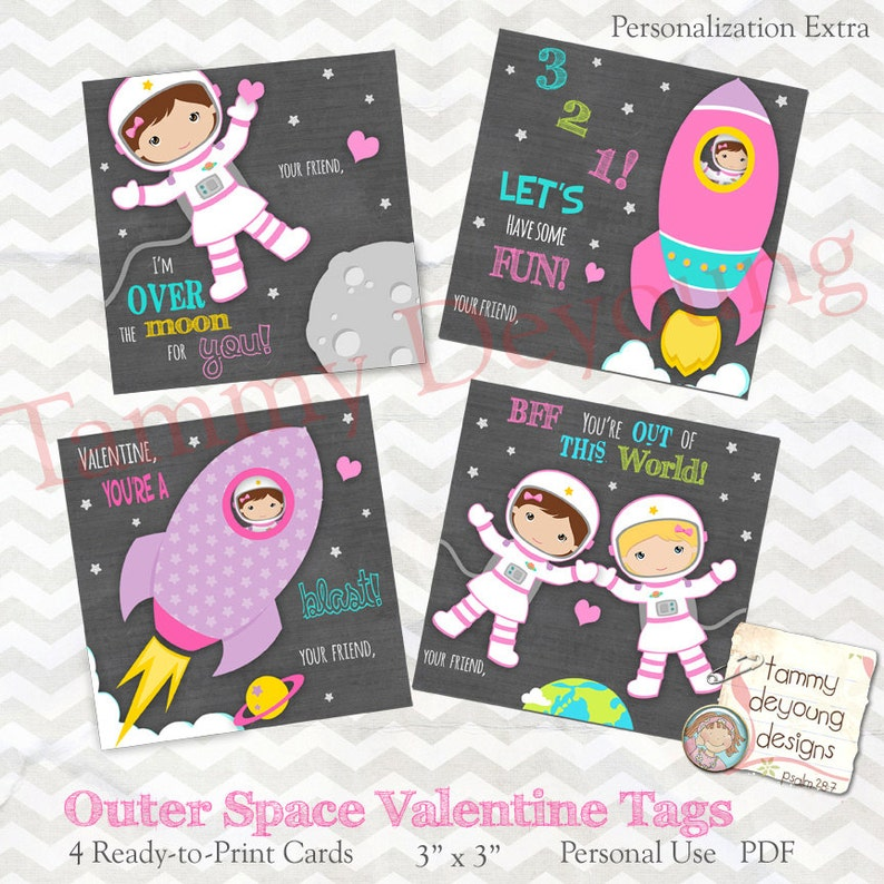 Outer Space Valentine tags for Girls Kids Valentine Day tags image 0