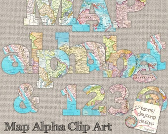 Map Letters Clip Art, World Map Digital Alphabet Letters numbers ClipArt for travel decor, map party, weddings, graduation scrapbooks cards