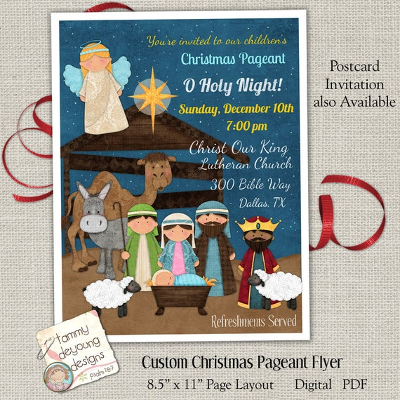 christmas pageant flyer religious christmas invitation etsy