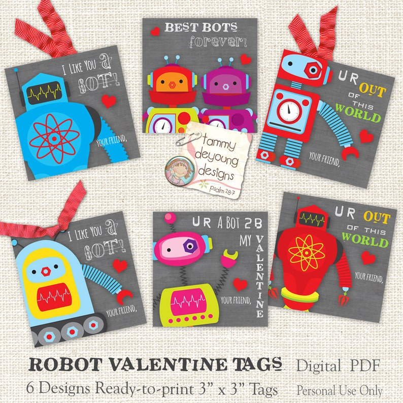94758d3eb0e Valentines Day cards for Kids Robot Valentines tags boys or