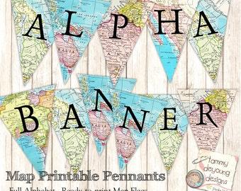 Map Banner Garland, Digital Map Party Pennant Flags, Full Alphabet you print, graduation banner travel decor, wedding, birthday, baby shower