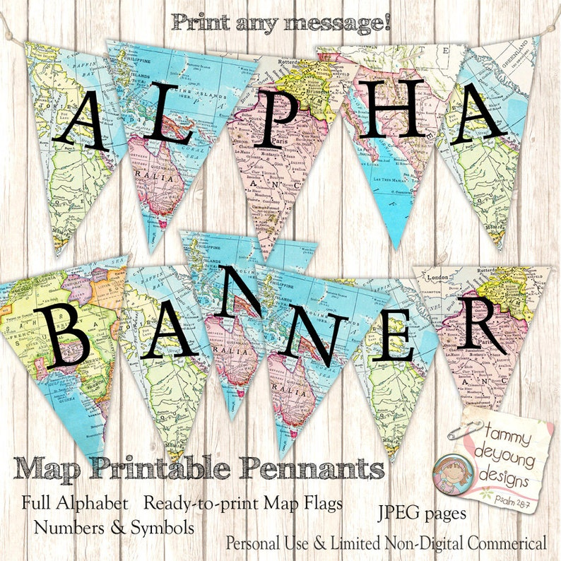 Map Banner Garland Digital Map Party Pennant Flags Full image 0