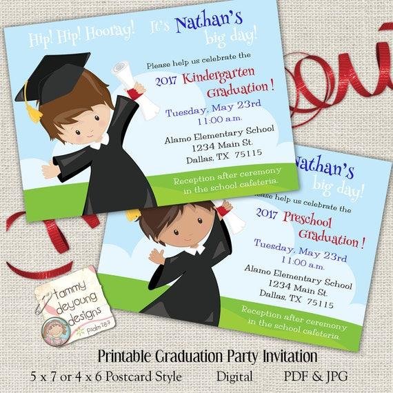 boys graduation invitation kindergarten graduation etsy