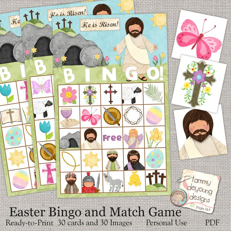 Easter Bible Bingo Religious Easter Printable Sunday School Etsy