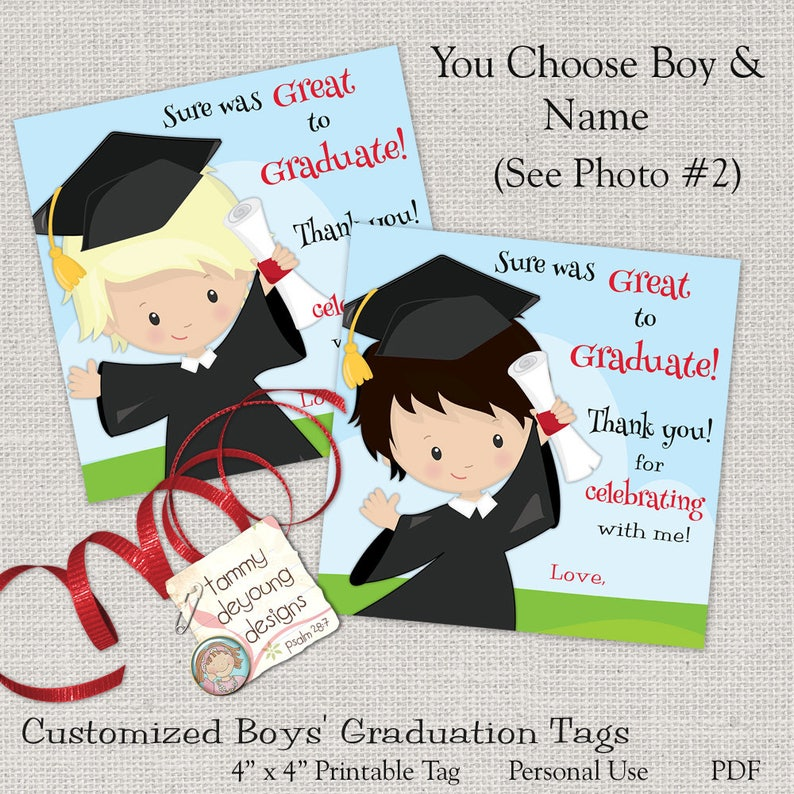 Boys Graduation Tags Digital Graduation Thank You Card Kids image 0