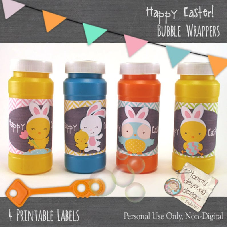Easter basket gift Easter Bubble labels Easter Party Favors image 0