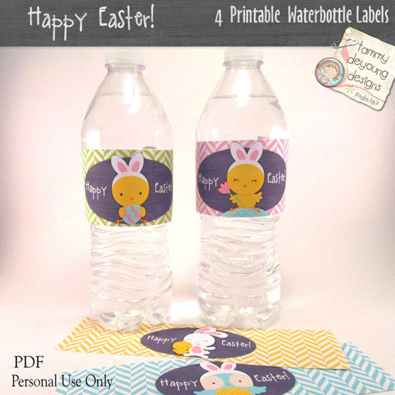 Easter Water Bottle Labels  Printable Easter Party Favors image 0