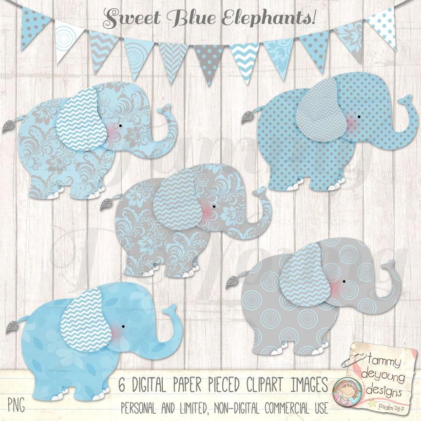Elephant Clip Art Blue and Gray Elephant clipart Digital ...