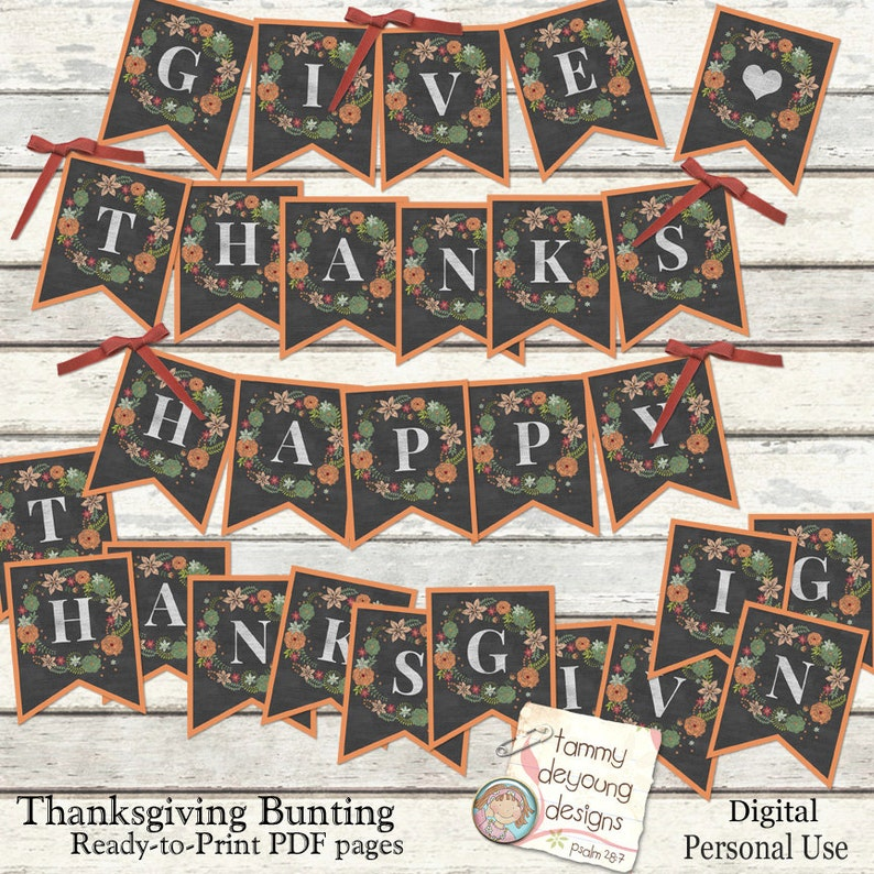 image regarding Printable Thanksgiving Banner identify Electronic Thanksgiving Bunting, Delighted Thanksgiving Banner, Offer you Due Tumble Garland Printable Thanksgiving pennants, Thanksgiving decorations