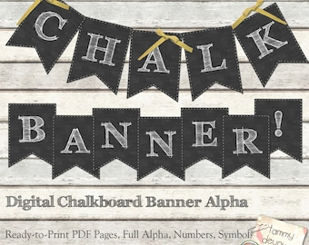 Chalkboard Banner, Chalkboard Wedding bunting Printable, Shabby Alphabet pennants Digital letters, Birthday, graduation, anniversary garland