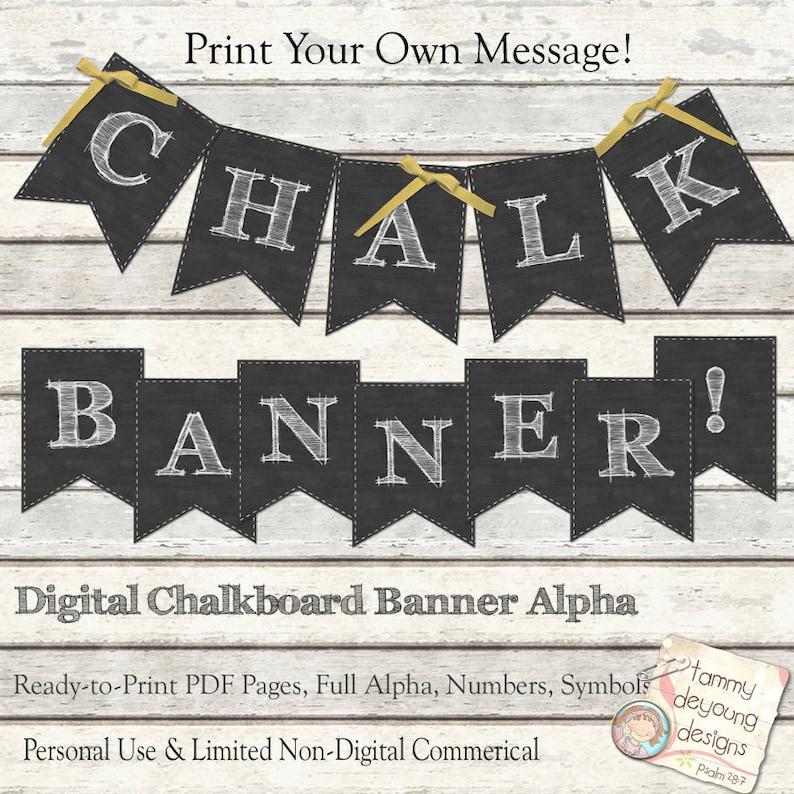 Chalkboard Banner Chalkboard Wedding bunting Printable image 0