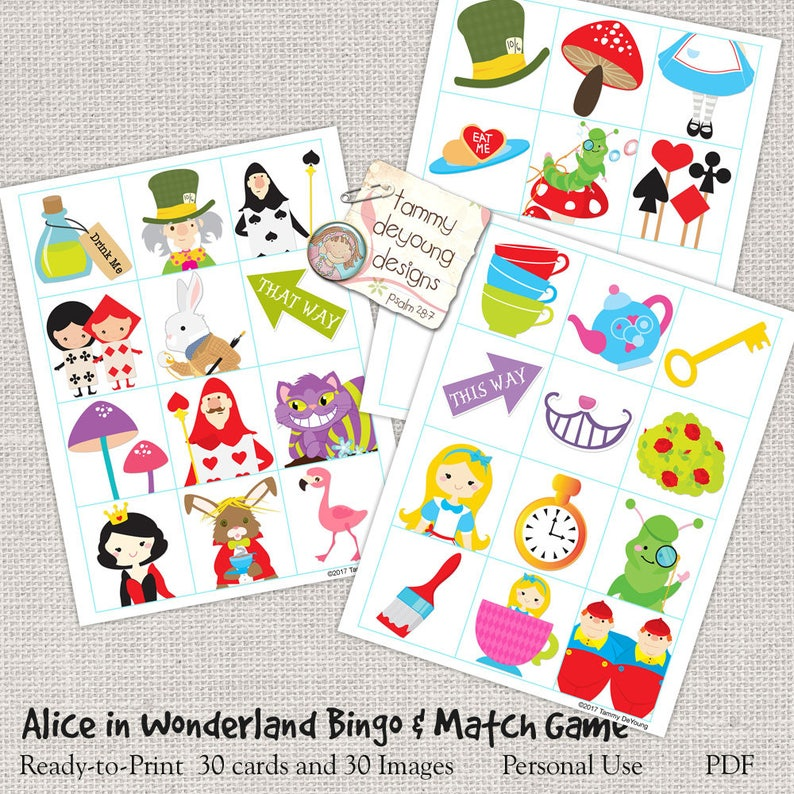 Bingo for Kids Alice in Wonderland Bingo Game Tea Party Game Printable Picture Bingo Digital Alice in Wonderland Birthday Party Game