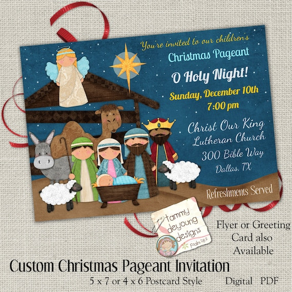 christmas pageant invitation religious christmas party etsy