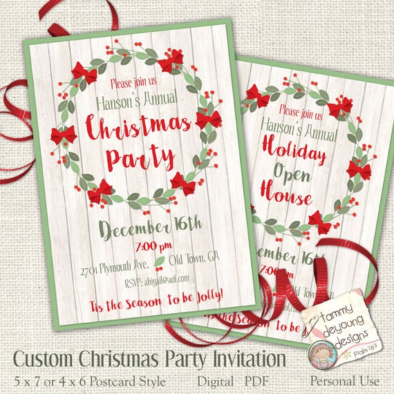 Printable Christmas Party Invitation Customized Your Words Etsy