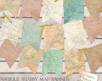 Old World Map Banner, Antique Map Garland,  Shabby World Map Bunting, custom travel decor, graduation banner, travel weddings, map pennants