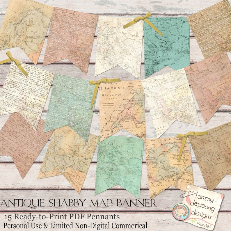 Old World Map Banner Antique Map Garland Shabby World Map Etsy