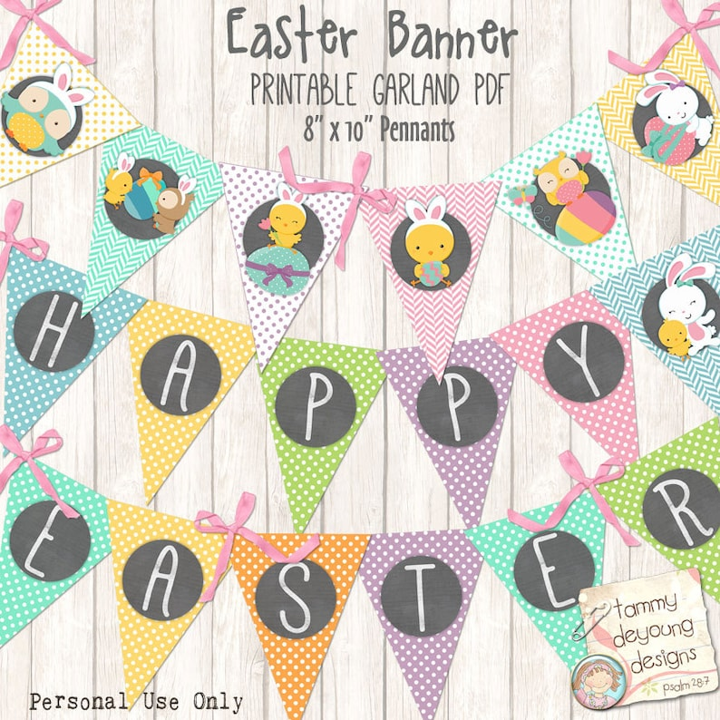 image about Easter Banner Printable named Easter Bunting, Printable Easter banner, Easter Decorations, Easter Pennant Garland bunny get together decor mint, orange, crimson, yellow blue