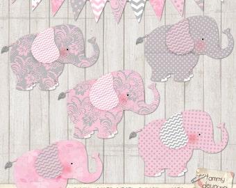 Elephant Clip Art, Nursery Elephants clipart, Pink Gray baby showers, nursery decor, gift tags, announcements, scrapbooks, invitations, tags