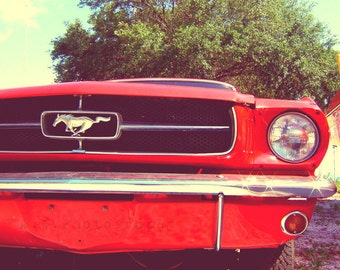 Cherry Darling Vintage Red Car Mustang 10x10 Photography ART Print