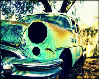 Lights Out Vintage Teal Photography Art Car Print 11x14