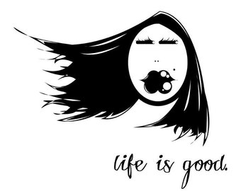 life is good. Inspirational Words Inspire Letterpress Illustration Digital Art 11x14 Print