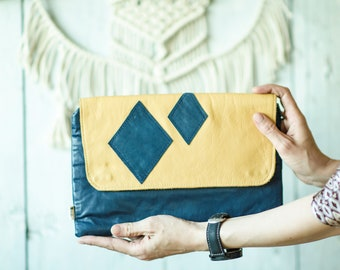 Leather clutch - Navy blue clutch - Ornament clutch purse - Clutch wallet - Blue yellow evening bag - Diamont clutch - Bridesmaid clutch
