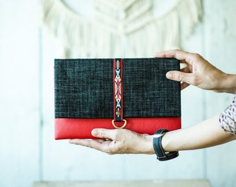 Red and black ethnic ribbon evening purse - Natural leather purse - Bridesmaid clutch bag - Fold over wristlet purse - Leather clutch