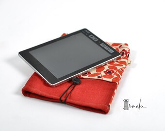 Floral tablet case - Red linen tablet sleeve - Linen gadget case - Floral kindle case - Boho tablet case - Padded tablet case