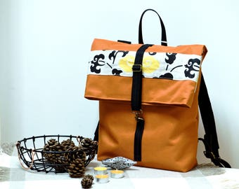 Orange canvas backpack - Waterproof folded satchel - Orange rucksack - Hipster backpack - Roll top backpack - Floral bag - Vegan backpack