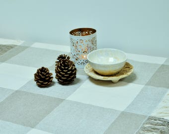Linen tablecloth - Gray white plaid tablecloth - Farmhouse table runner -  Natural table linen - Rustic table cloth - House warming gift
