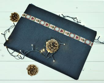 Macbook pro 15 case - Black macbook air case - Ethnic decorated laptop sleeve - Ipad sleeve - Ipad case - Macbook pro case  - Unisex gift