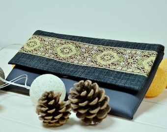 Black vegan leather clutch - Eco leather handbag - Ornament clutch purse - Decorated eco friendly clutch - Boho clutch - Elegant clutch bag