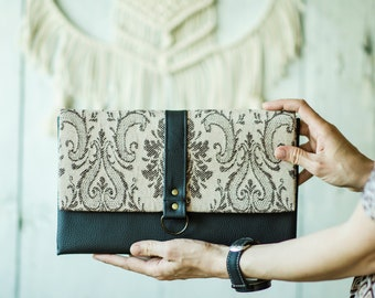 Black boho clutch - Eco leather boho clutch - Evening clutch - Vegan leather evening purse - Envelope clutch bag - Folded handbag