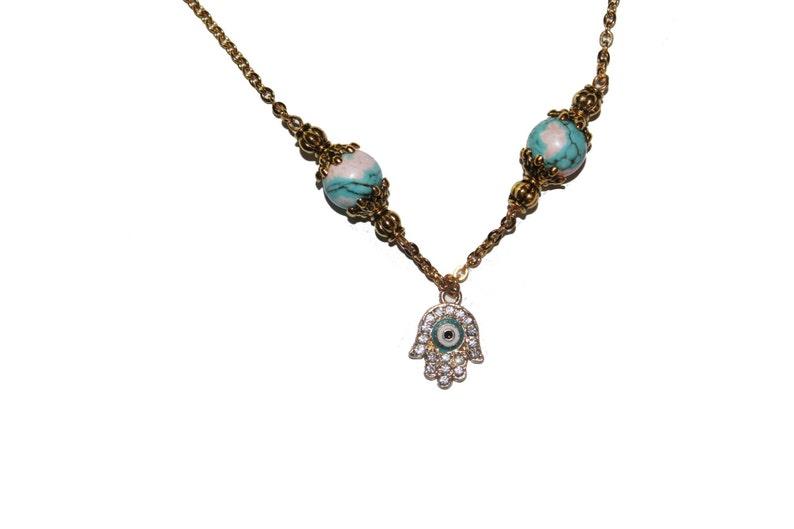 Turquoise Hamsa Hamsa necklace gold hamsa charm evil eye jewelry gold hamsa hamsa charm Hamsa charm necklace