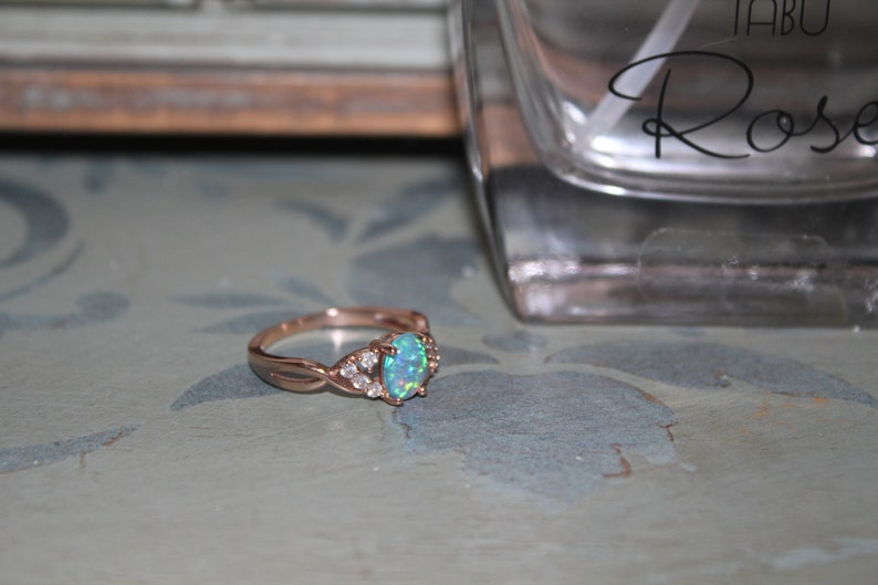 engagement ring wedding band opal ring rose gold ring,rose gold opal ring,Opal ring,opal band friendship ring blue opal ring