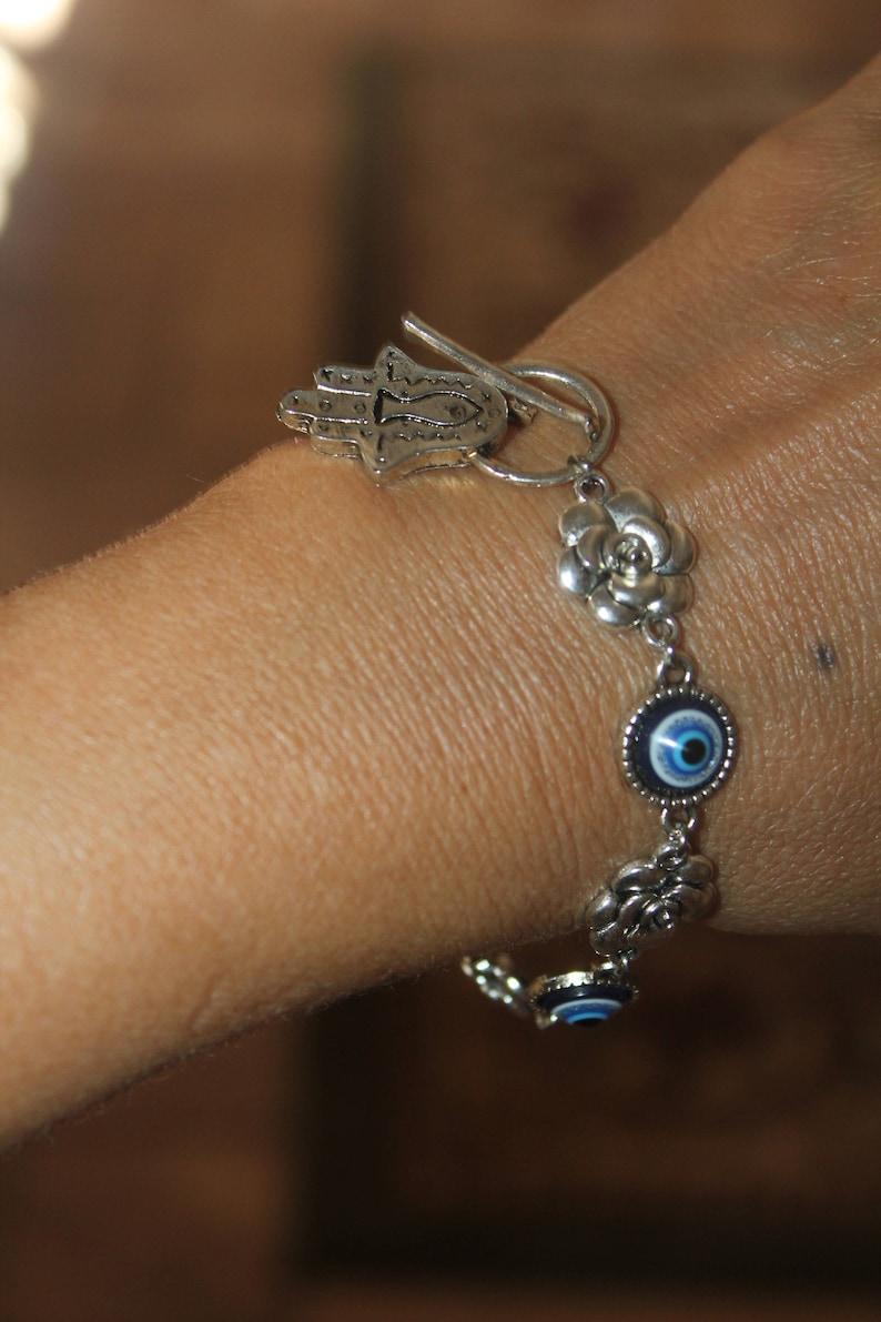 evil eye bracelet Hamsa bracelet evil eye bracelet silver hamsa bracelet adjustable bracelet