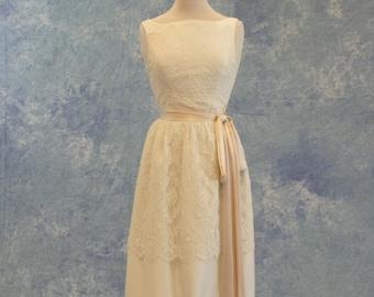 Vintage Lace Column Wedding Dress Shower Dress SAMPLE SALE!