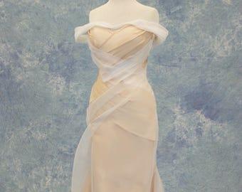 Peach and White Wedding Dress SAMPLE SALE!