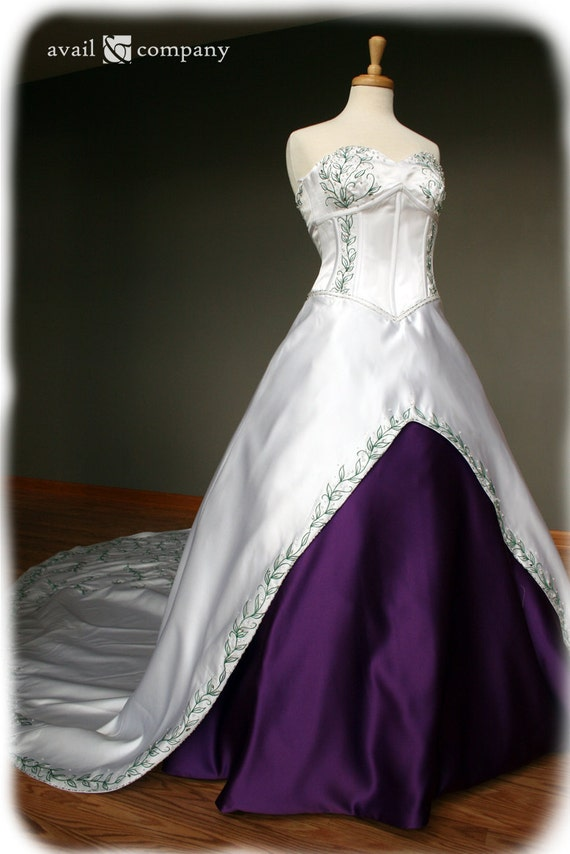 White and purple wedding dress with green embroidery custom junglespirit Image collections