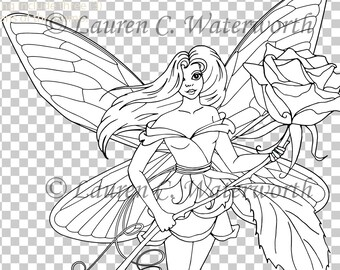 Rose Fairy Digital Stamp, colouring page, Digi stamp, floral, roses, girl, faerie,  digistamp, realistic, card making, scrapbooking, Clipart