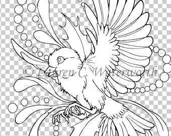 Robin Digital Stamp, colouring page, line art, christmas digistamp, festive, seasonal, card making, black and white line, bird, cute