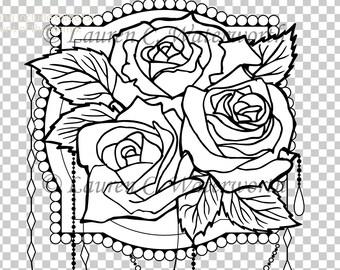 Roses Digital Stamp, colouring page, Digi stamp, floral, roses, elegant, digistamp, realistic, card making, scrapbooking, Clipart