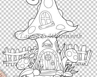 Fairy mushroom house digi, fairy house clipart, fairy house digital stamp, house line art, fairy clip art, digital house, commercial use